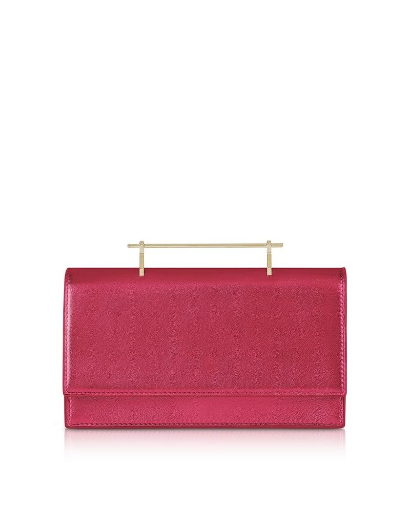 M2Malletier Designer Handbags, Alexia Metallic Hot Pink Leather Shoulder Bag