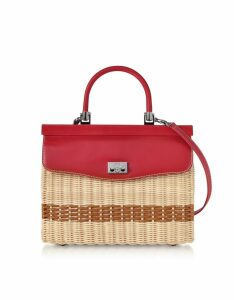 Rodo Designer Handbags, Woven Wicker and Leather Top-Handle Bag