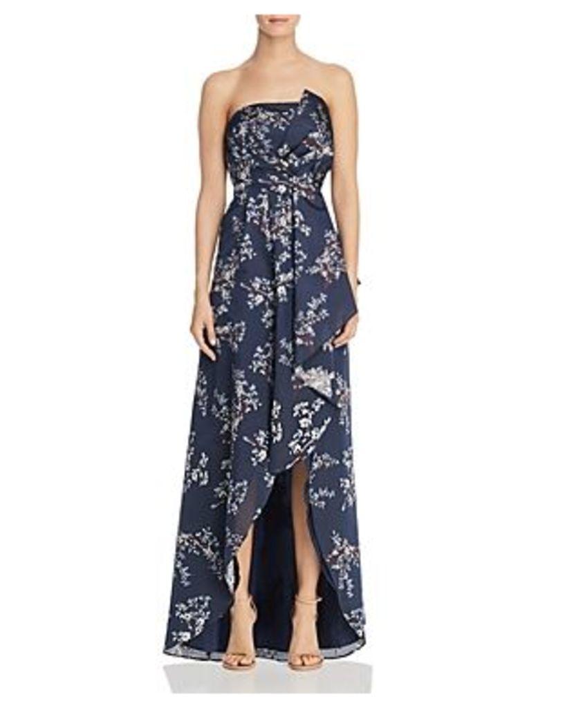Aidan Mattox Strapless Floral Gown