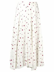 Chinti & Parker strawberry print pleated skirt - White
