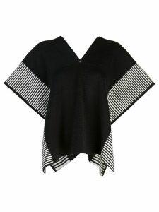 Voz Stripe Edge knit poncho - Black