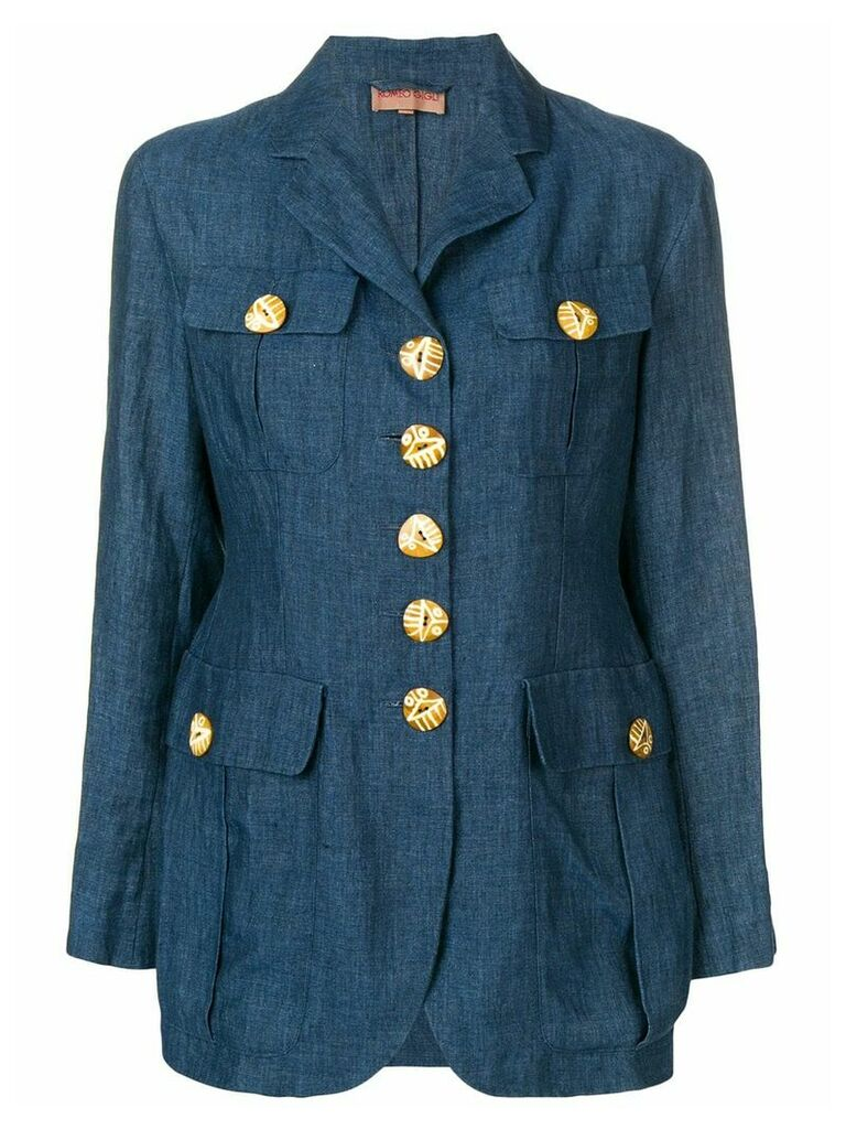 Romeo Gigli Pre-Owned oversized button blazer - Blue
