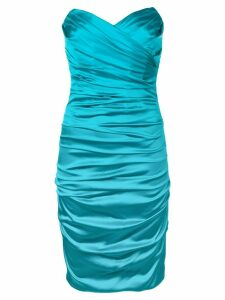 DOLCE & GABBANA PRE-OWNED strapless draped dress - Blue
