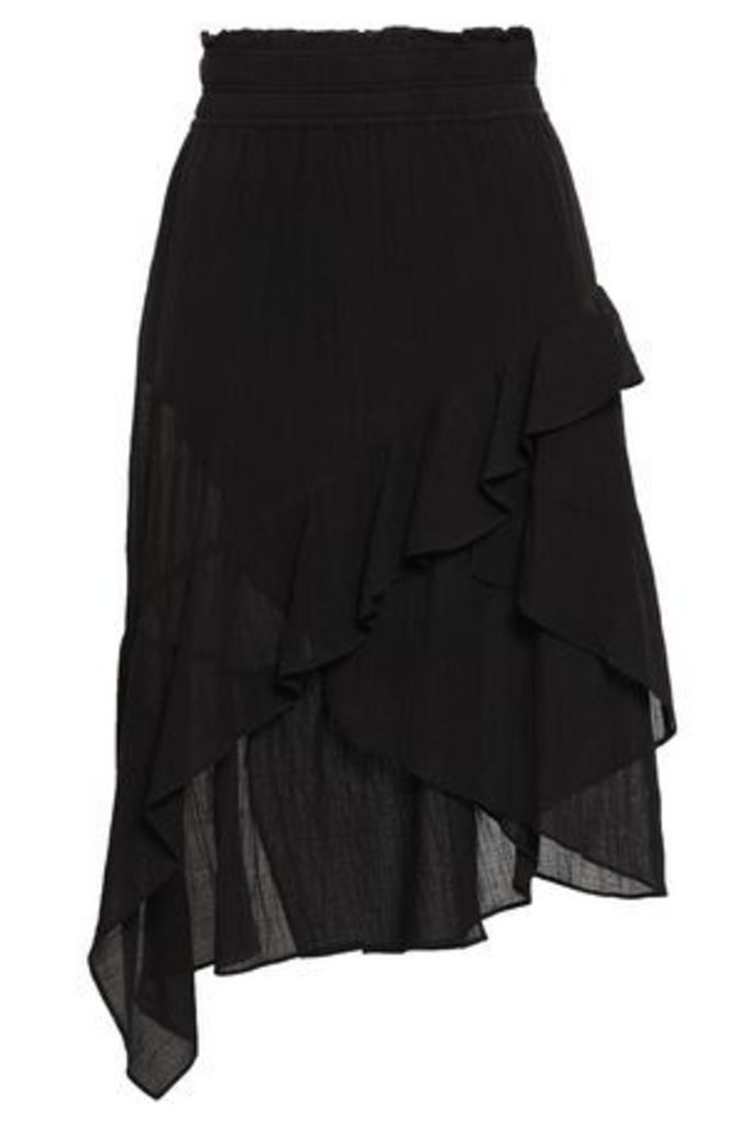 Iro Woman Forites Asymmetric Ruffled Crinkled-gauze Skirt Black Size 34