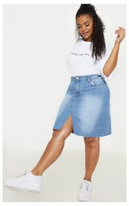 Plus Light Wash Denim Fray Hem Midi Skirt, Light Blue Wash