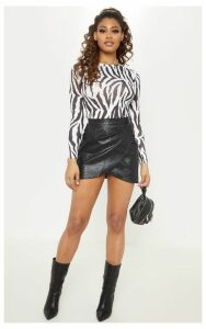 Tall Black Snake Effect Faux Leather Wrap Skirt, Black