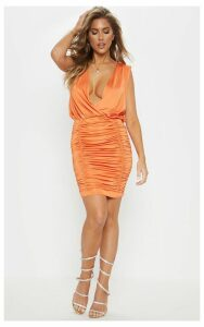 Orange Slinky Plunge Ruched Front Bodycon Dress, Orange