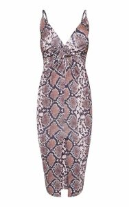 Tan Snake Print Plunge Split Front Midi Dress, Brown