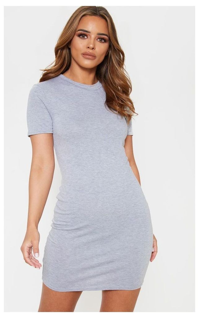 Petite Grey Short Sleeve Jersey Dress, Grey