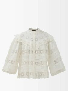 Gucci - Single Breasted Square Jacquard Cotton Blazer - Womens - Navy Multi