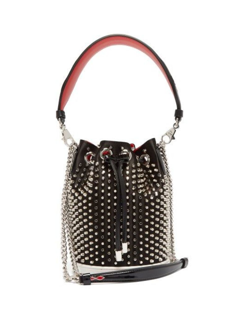 Christian Louboutin - Marie Jane Satin And Leather Bucket Bag - Womens - Black Silver