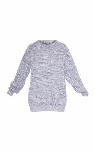 Grey Mixed Yarn Knitted Jumper, Grey