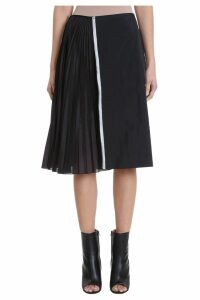 Maison Margiela Zipped Black Nylon Midi Skirt