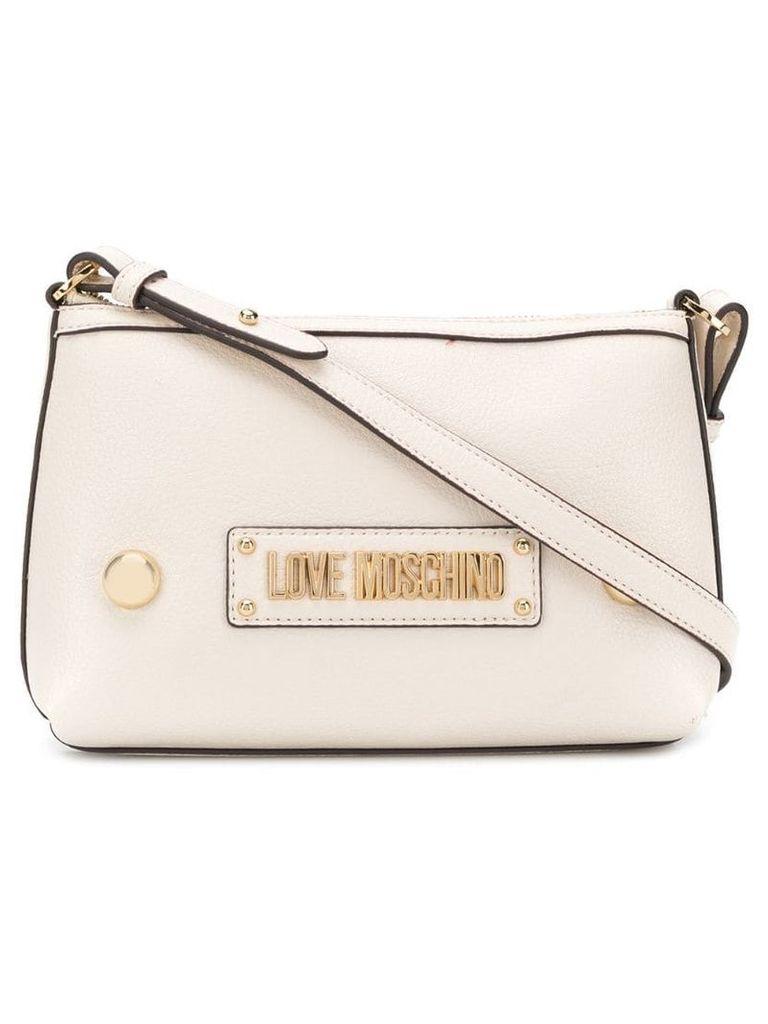 Love Moschino logo plaque crossbody bag - Neutrals