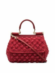 Dolce & Gabbana red Corredo raffia shoulder bag