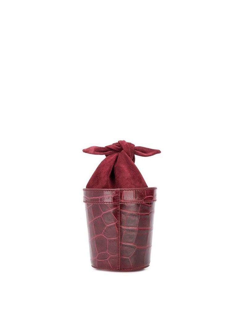 Staud crocodile effect bucket bag - Red