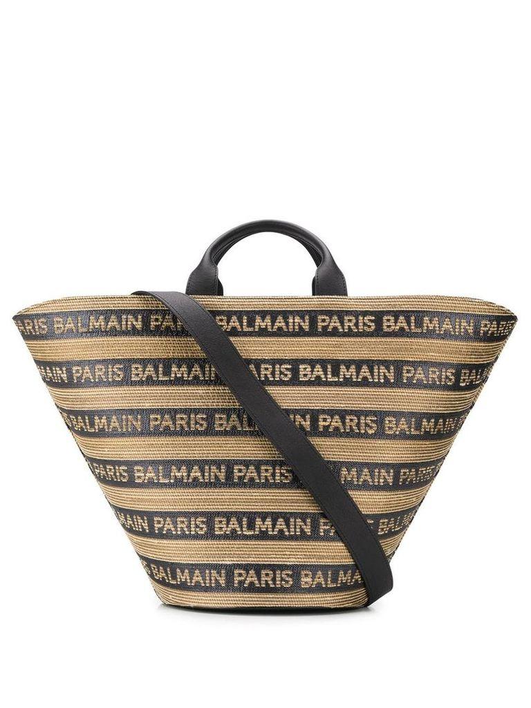 Balmain striped logo tote - Black