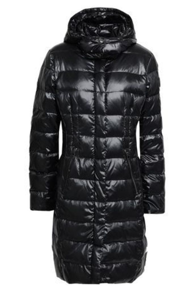 Dkny Woman Quilted Shell Hooded Down Jacket Black Size M