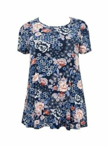 Navy Blue Floral Print Swing Tunic, Navy