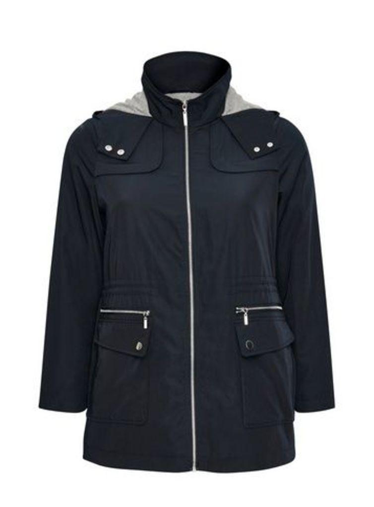 Navy Blue Lightweight Hooded Coat, Navy
