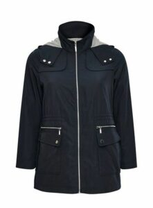 Navy Blue Lightweight Hooded Coat, Navy