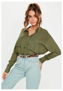 Khaki Long Sleeve Safari Shirt, Olive