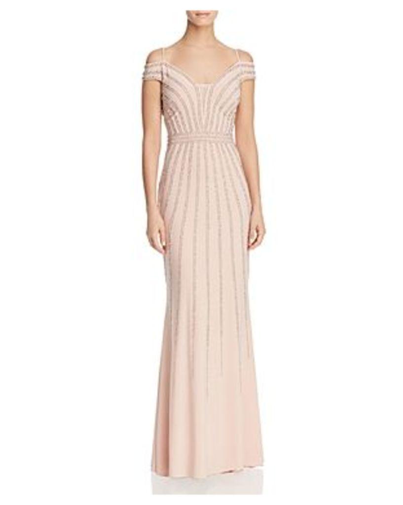 Aqua Cold-Shoulder Embellished Gown - 100% Exclusive