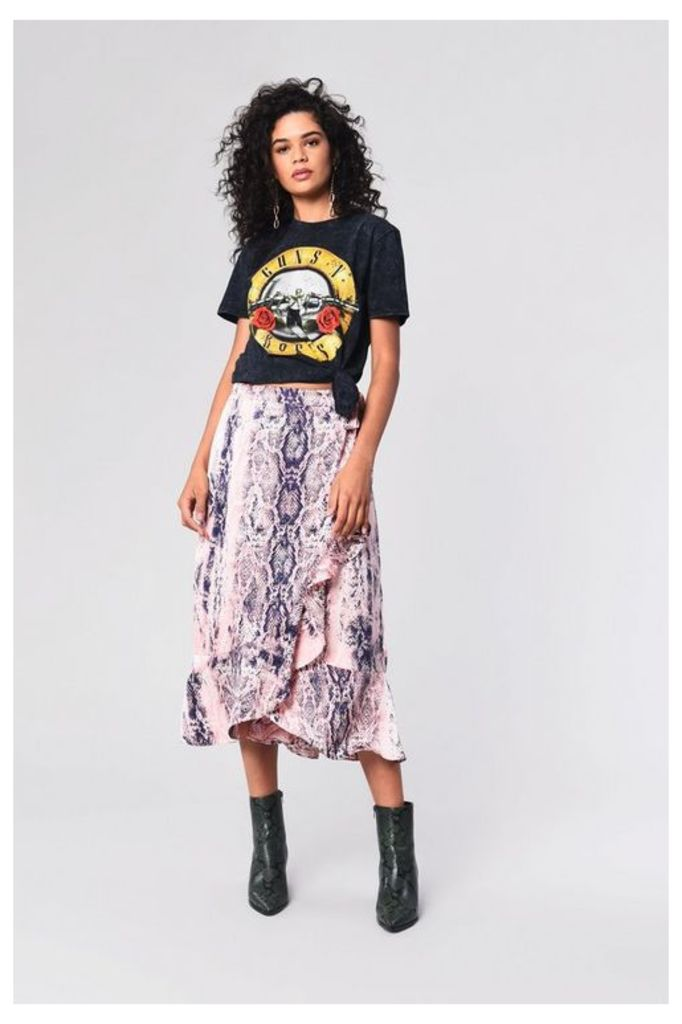 Womens **Snake Wrap Skirt By Glamorous - Multi, Multi