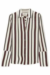FRAME - Striped Silk Blouse - White