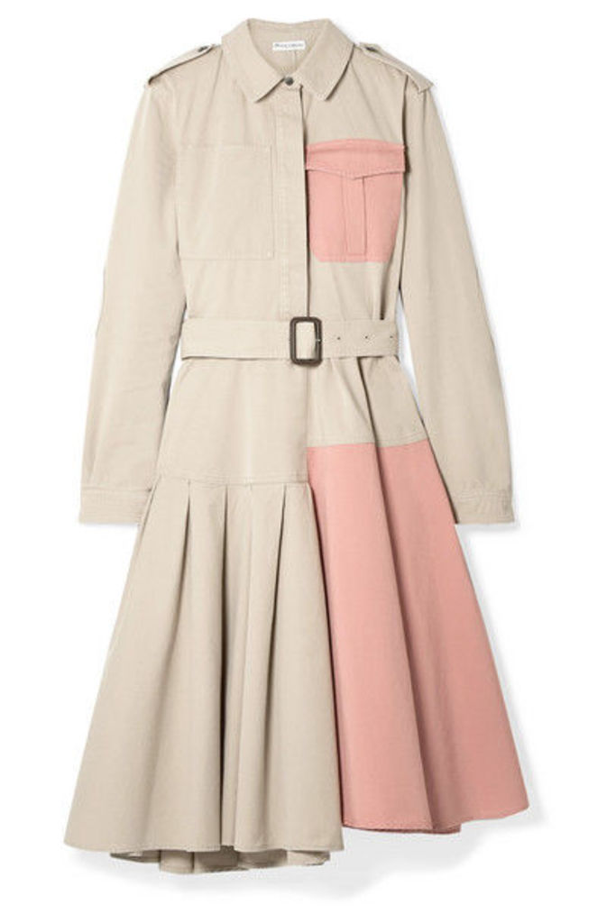 JW Anderson - Belted Paneled Cotton-drill Dress - Beige