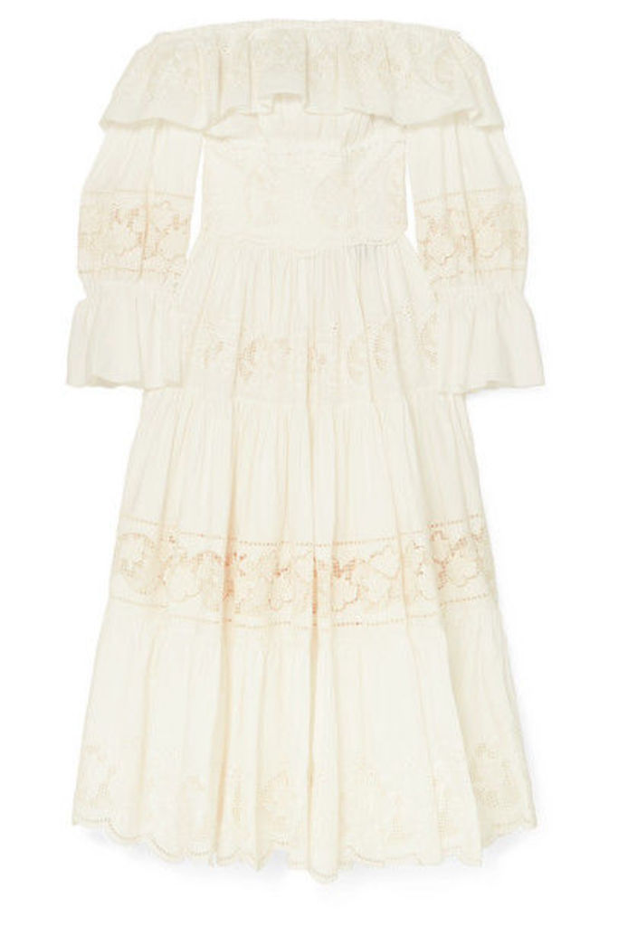 Dolce & Gabbana - Off-the Shoulder Tiered Broderie Anglaise Cotton-blend Poplin Midi Dress - White