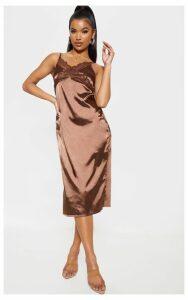 Chocolate Lace Trim Midi Shift Dress, Chocolate