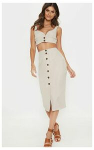Stone Faux Suede Button Front Midi Skirt, White