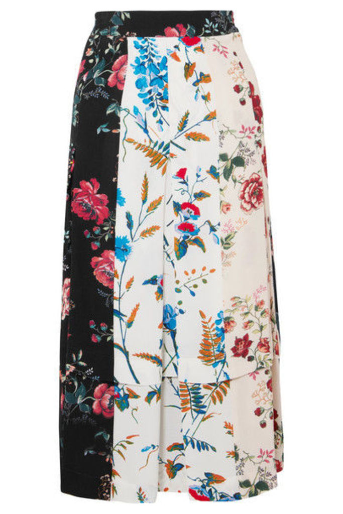 Maje - Pleated Floral-print Crepe De Chine Midi Skirt - Ivory