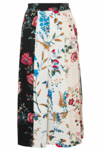 Maje - Pleated Floral-print Crepe De Chine Midi Skirt - Ivory