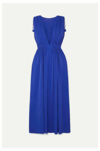 Eres - Mikado Ryokucha Ruched Stretch-jersey Maxi Dress - Bright blue