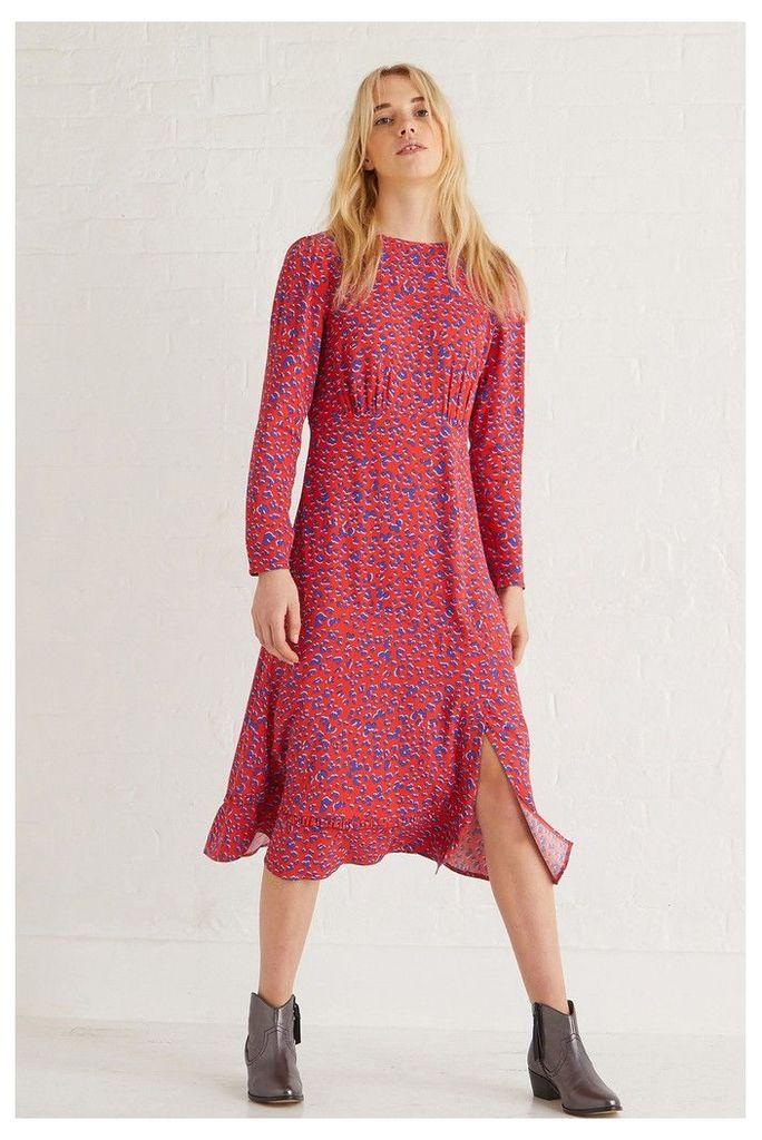 Womens Oliver Bonas Red Animal Midi Dress -  Red