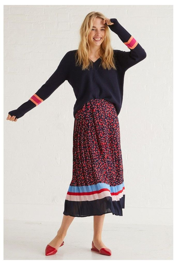 Womens Oliver Bonas Blue Leopard Pleated Midi Skirt -  Blue