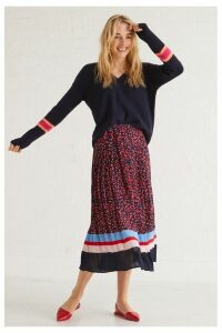 Womens Oliver Bonas Blue Leopard Pleated Midi Skirt -  Blue
