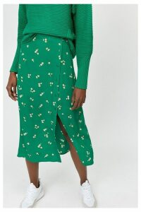 Womens Warehouse Green Verity Ditsy Floral Midi Skirt -  Green