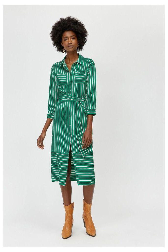 Womens Warehouse Green Stripe Utility Shirt Dress -  Green