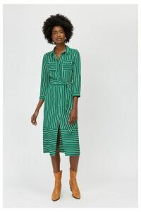 Womens Warehouse Green Stripe Utility Shirt Dress -  Green
