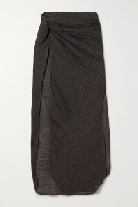 Brunello Cucinelli - Belted Checked Cotton And Silk-blend Voile Wrap Skirt - Beige
