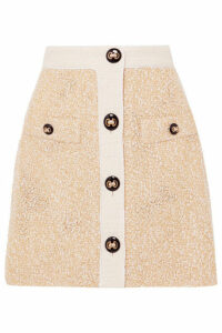 Alessandra Rich - Button-embellished Metallic Bouclé-tweed Mini Skirt - Yellow