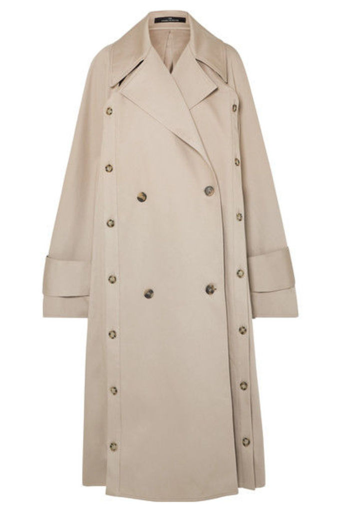 Rokh - Oversized Convertible Cotton-gabardine Trench Coat - Beige