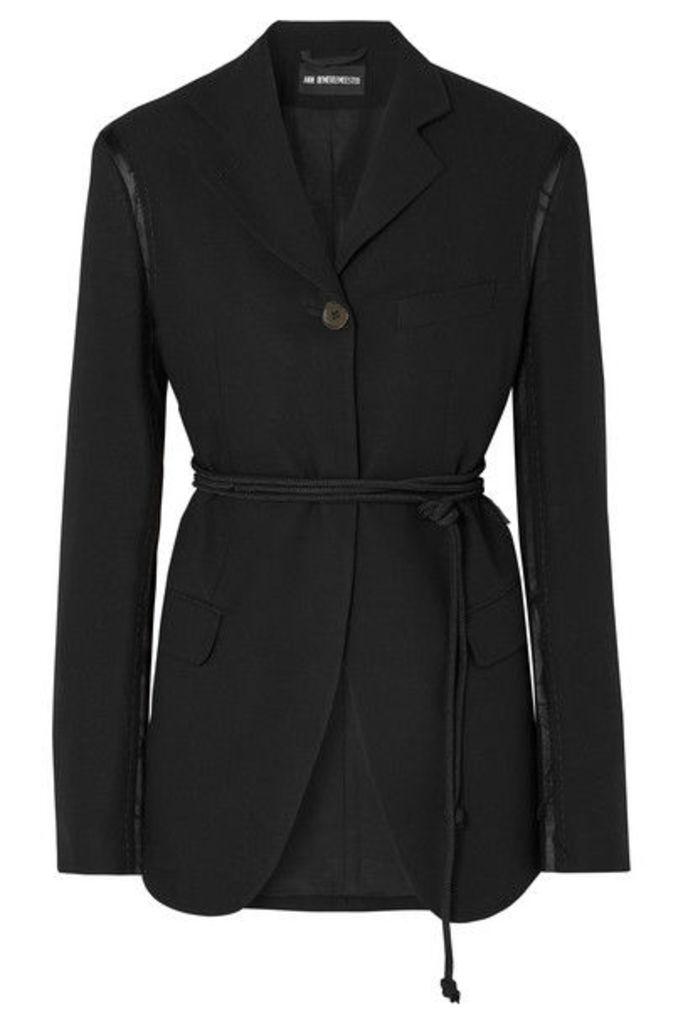 Ann Demeulemeester - Distressed Belted Satin-trimmed Wool Blazer - Black