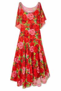 Richard Quinn - Embellished Floral-print Georgette Maxi Dress - Red