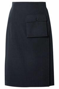 Comme des Garçons Comme des Garçons - Leather-trimmed Pleated Wool-gabardine Wrap Skirt - Navy