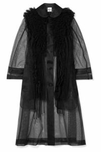 Noir Kei Ninomiya - Oversized Ruffled Pleated Mesh Coat - Black