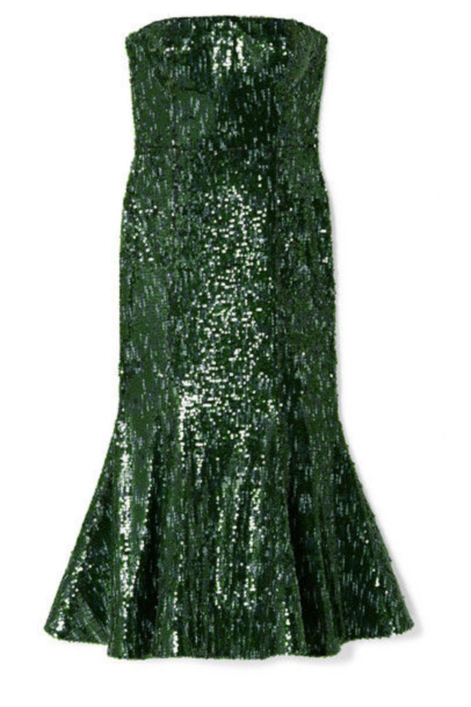 SemSem - Strapless Sequined Tulle Midi Dress - Emerald